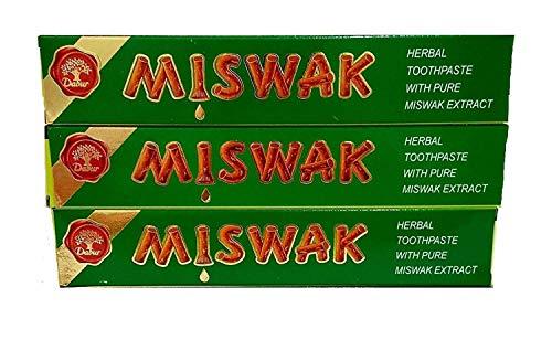 Dabur - Herbal - Dentífrico de hierbas con miswak - 100 ml - Pack de 3 unidades