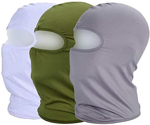 MAYOUTH Sturmhaube Balaclava UV Schutz Gesichtsmasken für Radfahren Outdoor Sports Vollgesichtsmaske Breath (Grün+weiß+grau)