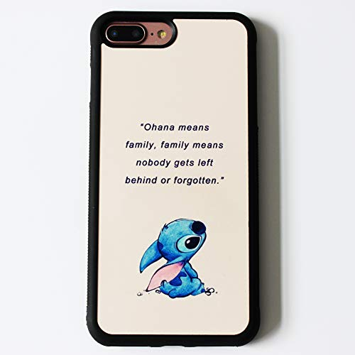 Lilo & Stitch Quote Art Case For iPhone 7 Plus / 8 Plus (5.5 Inch) Comic TPU Silicone Rubber Gel edge + PC Bumper Case Skin Protective Custom Designed Printed Phone Protector Full Protection Cover