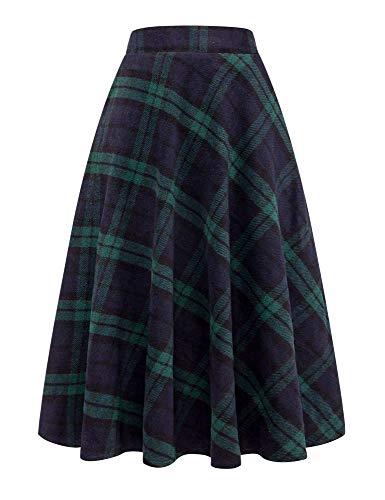 IDEALSANXUN Womens High Waist Winter Warm Long Maxi Skirt Flare A-line Plaid Skirts (Medium, Long Green)