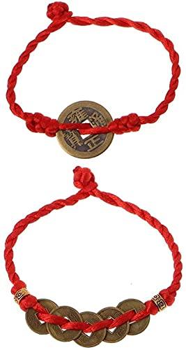 HYJMJJ Feng Shui Wealth Lucky Cobre Cobre Colgante Red String Brazalets Puede traer Buena Suerte