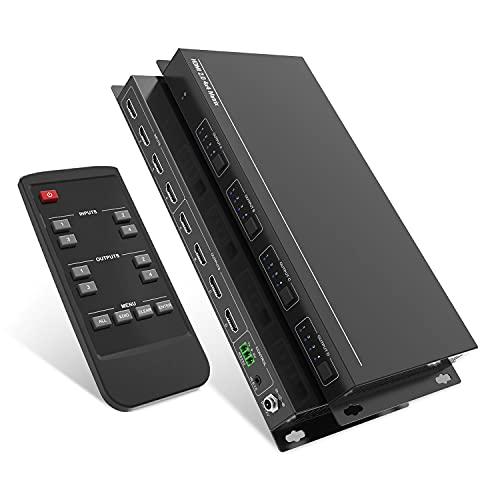 PUTRON HDMI Matrix 4x4, HDMI2.0 Switcher Router for18G Bandwitth para 4K@60HZ 4:4:4, UHD, con RS232, control remoto IR, HDCP2.2 EDID CEC HDR10, D-o-l-b-y Visión, 1080P, 3D, Full HD