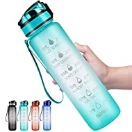 DYD 32oz Water Bottle with Time Marker & Removable Strainer, BPA Free Motivational Water Bottles, Leak Proof Large Bottle for Fitness, Gym and Outdoor Sports