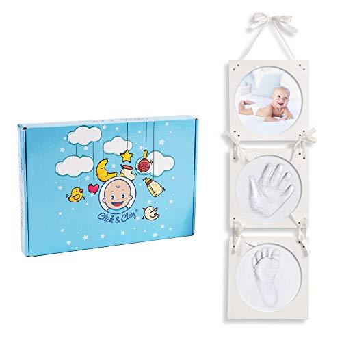 Click & Clay® - Baby Handabdruck und Fußabdruck Set - Ideal als Baby Geschenk Mädchen, Baby Geschenk Junge und Geschenk zur Geburt Mädchen und Jungen - Baby Set für Personalisierte Geschenke Baby
