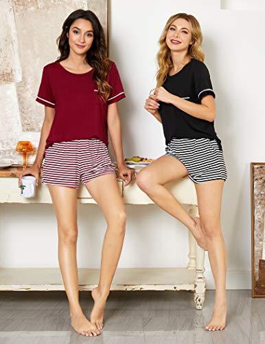Ekouaer Womens Pajama Set Striped Short Sleeve Sleepwear Pjs Sets(S-XXL)