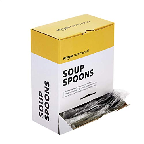 AmazonCommercial Take Away Soup Spoons, 2 Display Boxes of 125 Individually Wrapped Soup Spoons (250 Count)