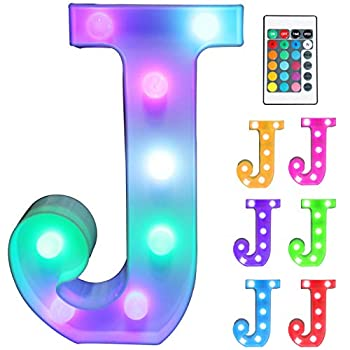 Pooqla Colorful LED Marquee Letter Lights with Remote – Light Up Marquee Signs – Party Bar Letters with Lights Decorations for The Home - Multicolor J
