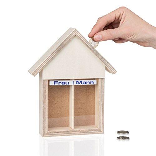 Geschenkbox Spardose Partnerkasse Haushaltskasse für Eheleute/Paare/Mann/Frau mit 2 Kammern, Holz, 22 x 18 x 5 cm
