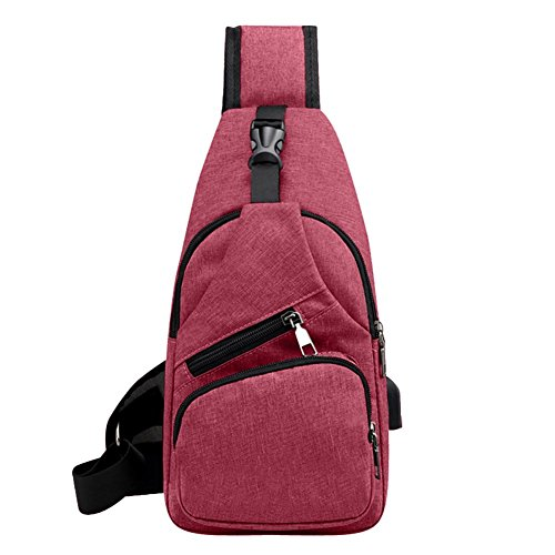 Casual Sports Men Chest Pack Canvas Bag with USB Charging Port Sling Shoulder Backpack Crossbody Handbag for Boys - Red