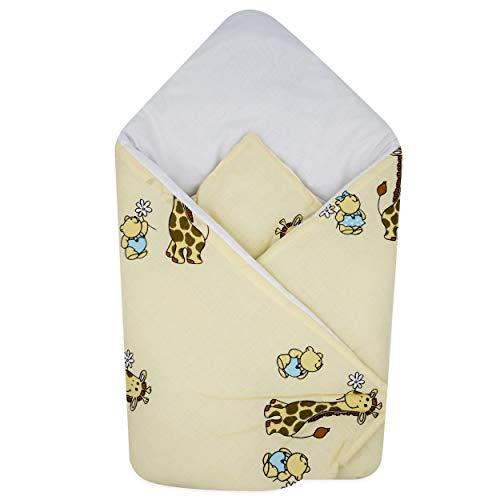 BlueberryShop Wickeldecke zum Auto, Schlafsack für Neugeborene von 0 bis 3 Monaten für Kinderwagen oder Kinderbett, Baby Shower, 78 x 78 cm, Creme Giraffe