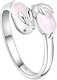 Open Ring Pink Rabbit Shape Jewelry Rings for Women