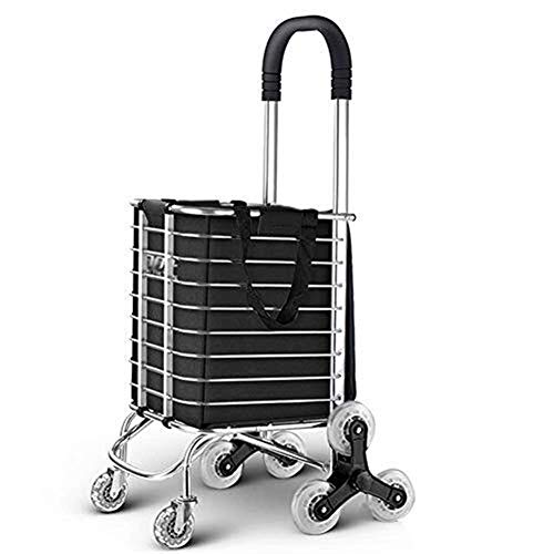 LIZANAN Trolley Folding Shopper Luggage Cart Grocery Utility Lightweight Stair Climbing Cart With Rolling Swivel Wheels And Removable Canvas Bag Utility Carts Utility Carts With/Big Aluminum Black Loa