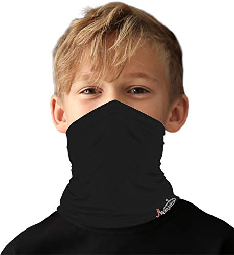 Kids Little Boys Face Mask Ski Mask Running Bandanas Sport Neck Gaiter UPF 50+ Sun Mask Scarf for Toddler Girls Black
