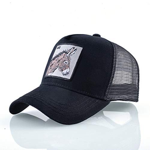 ZHYAODAI Verano Unisex Parche Bordado Burro Gorra De Béisbol,Hip Hop Ajustable Malla Transpirable Hat Trucker Cap,Exterior Deportes Viajes Ocasionales Hat Black Adult Visor Sun Hat