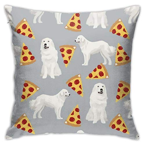 Lucky girlfriend Great Pyrenees Pizza Pillowcase Square Soft Plush Home Sofa Bed Car Decoration Pillowcase Cushion Cover -Include Insert 18'X 18' Inches