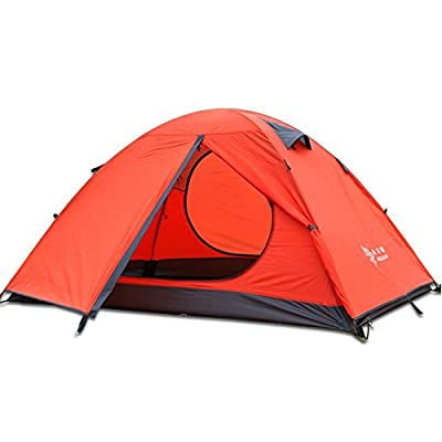 3-4 Season 2 3 Person Lightweight Backpacking Tent Windproof Camping Tent Awning Family Two Doors Double Layer with Aluminum rods Outdoor Camping Family Beach Hunting Hiking Travel (Orange-2 Person)