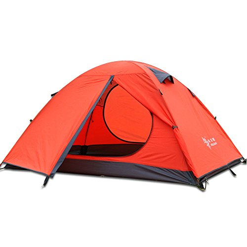 3 Season 3-Person 3 Man Backpacking Tent Double Layer Lightweight Waterproof Dome 2 Doors,Aluminum Rod Windproof for Camping Hiking Travel Climbing (Orange-3 Person)