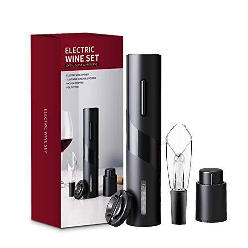 Kit apribottiglie elettrico per vino Cavatappi automatico ricaricabile contiene tappo per sottovuoto per taglierina e versatore per aeratore del vino con cavo di ricarica USB,Black
