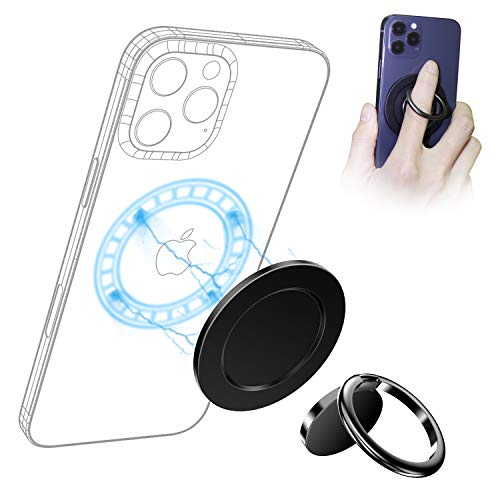 enGMOLPHY iPhone 12 MagSafe対応スマホリングホルダー, 【スマホリングとMag-Safe充電併用互換でき】アルミ製 マグネットプレート, iPhone 12/12 Pro / 12 Pro Max / 12Miniのユーザーにとって必須のアクセサリ【フィンガーリングスタンドが含まれ】(ブラック)