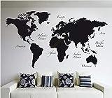 Mapa del mundo grande vinilo tatuajes de pared decoración para el hogar sala de...