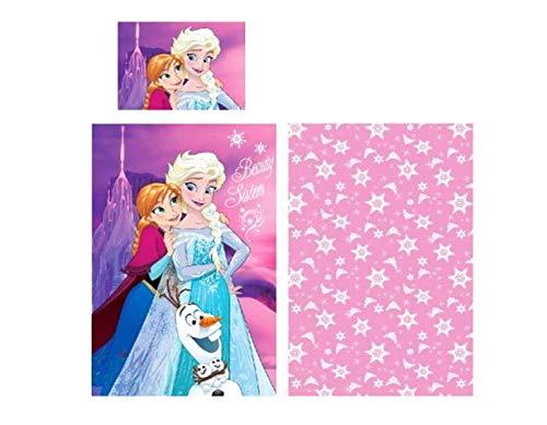Ropa de cama infantil de Disney, a elegir: princesa o Frozen. Funda de almohada, 40 x 55 cm y funda nórdica, 90 x 140 cm, algodón. Bonito regalo para niña, algodón, Frozen, 90 x 140 cm