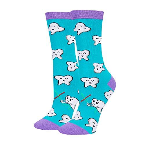 HAPPYPOP Women Girls Dental Hygienist Crew Socks, Funny Teeth Dentist Gift