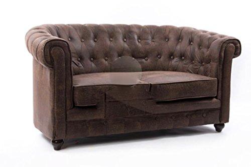 ANGULO interiores Sofa Chester en ecopiel Envejecida con Tacto increíble, CAPITONE