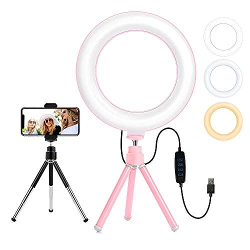 Anillo de luz LED de 6 pulgadas con soporte de trípode para YouTube Video y Maquillaje, mini luz LED de cámara con soporte para teléfono celular lámpara LED de escritorio