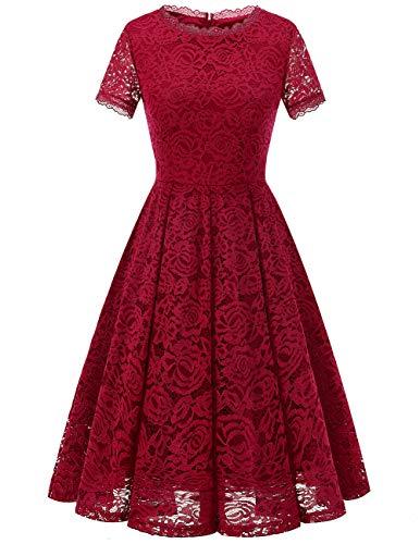 DRESSTELLS Partyoutfit Damen Midi Elegant Hochzeit Spitzenkleid Kurzarm Rockabilly Kleid Cocktail Abendkleider DarkRed L