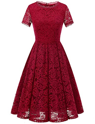 DRESSTELLS Damen Midi Elegant Hochzeit Spitzenkleid Kurzarm Rockabilly Kleid Cocktail Abendkleider DarkRed XL