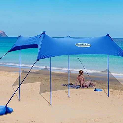 UMARDOO Family Beach Tent with 4 Aluminum Poles Pop Up Beach Sunshade with Carrying Bag Blue product image