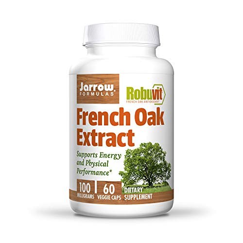 Jarrow Formulas French Oak Extract (Robuvit) for Energy and Physical Performance, 100 mg Veggie Caps, 60 Count, Brown