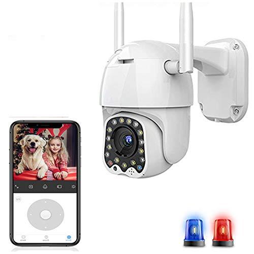 AINSS HD Cloud 1080P WiFi Ptz Camera Outdoor 2Mp Auto Tracking CCTV Cámara De Seguridad para El Hogar IP Camera 4X Zoom Digital Speed Dome Camera Siren Light Wireless CAM 1080P Agregar 32G