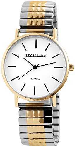 Excellanc Damen - Uhr Weiß Silberfarbig Goldfarbig Analog Quarz Metall Zugband Armbanduhr
