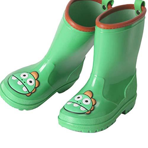 ZOSYNS Kids Rain Booties Boys Mid Waterproof Rain Boots Girls Rubber Boot Non-Slip for Child 31 Green