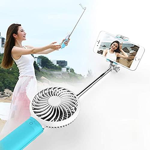 aipipl Ventilador de enfriamiento USB portátil con Tres velocidades de Viento Ajustables + Monopié controlado por Cable, Plegable, Extensible, con Bolsillo, Soporte de Bolsillo, Selfie Stick con co