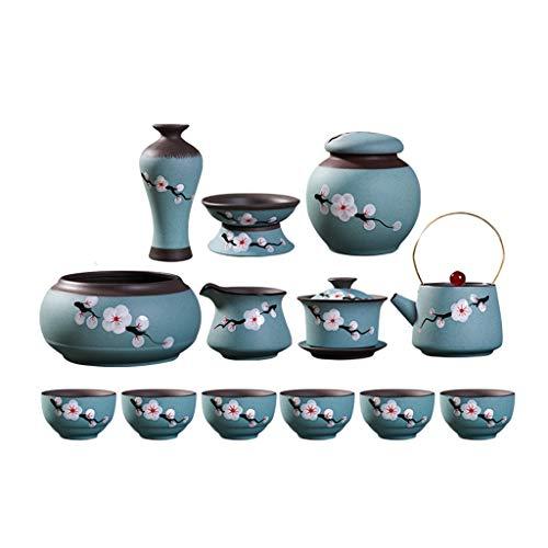 Teeservice Kung Fu Tea Set Startseite Wohnzimmer Office Desktop-Dekoration Tee-Set im chinesischen Stil Meeting Freizeit-Party Tee-Set Teekanne Set Geschenk (Color : Blue)