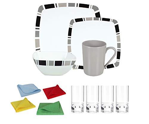 Moritz Ensemble vaisselle de camping en mélamine 4 personnes Design Carre + 4 verres longdrink Transparent + 1 chiffon microfibre 4 couleurs