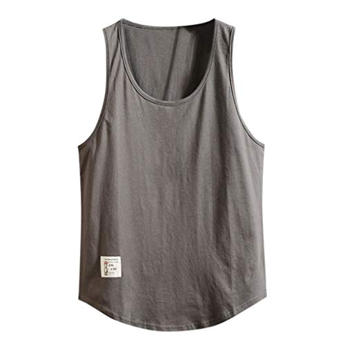 iHPH7 Tank Tops Men Performance Sleeveless Workout Muscle Bodybuilding Shirt Athletic Running Fitness Loose Sleeveless Bodybuilding Round Neck Vest Tank Tops XXL Dark Gray