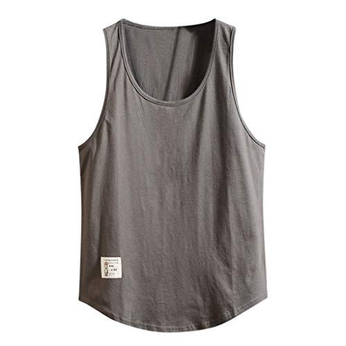 WUSIKY Tshirt Herren Hemd Kurzarm Fitness Lose Feste äRmellose Bodybuilding Rundhals Weste Tank Tops MäNner T Shirts (Dunkelgrau, 5XL)