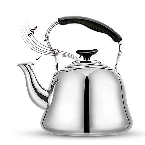 Pfeifkessel Edelstahl Teekessel mit Gummigriff Pfeifen Teekanne Flötenkessel Wasserkessel Induktion Wasserkocher Wasserkessel Induktionsherde Teekanne für Gasherde-4L/5L
