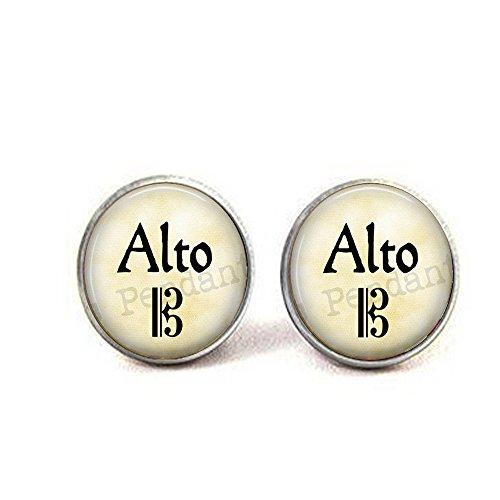 nijiahx ALTO Jewelry – Singer Schmuck – Alt Chor Ohrringe – Geschenk für Sänger – Alt Schlüssel – Chorus – Opernsänger