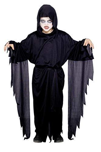 Smiffy's-21818S Disfraz de Fantasma con túnica con Capucha y cinturón, Color Negro, S-Edad 4-6 años (21818S)