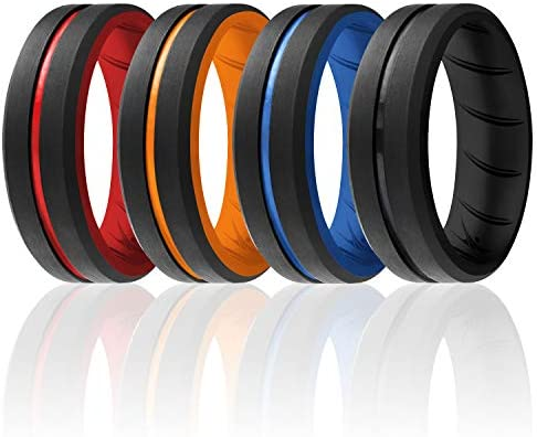 ROQ Silicone Rings Breathable Silicone Rubber Wedding Ring Band for Men with Comfort Fit Design product image