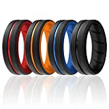 ROQ Silicone Rings, Breathable Silicone Rubber Wedding Ring Band for Men with Comfort-Fit Design, 8mm Engraved Duo, 4 Pack, Silicone Wedding Ring - Black, Red, Orange, Blue Colors - Size 13