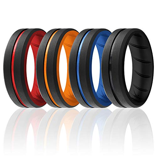ROQ Silicone Rings, Breathable Silicone Rubber Wedding Ring Band for Men with Comfort-Fit Design, 8mm Engraved Duo, 4 Pack, Silicone Wedding Ring - Black, Red, Orange, Blue Colors - Size 10