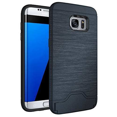 LINSHAOHUI Para Galaxy S7 Edge / G935 Funda de TPU separable con textura cepillada + PC Combinación trasera con ranura para tarjeta y soporte (negro) (Color: azul oscuro)