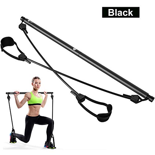 T.G.Y Pilates Resistance Band Yoga Pilates Bar Exercise Resistance Band Toning Bar Home Gym, with Foot Loop for Total Body Workout Yoga, Fitness, Stretch, Sculpt, Black