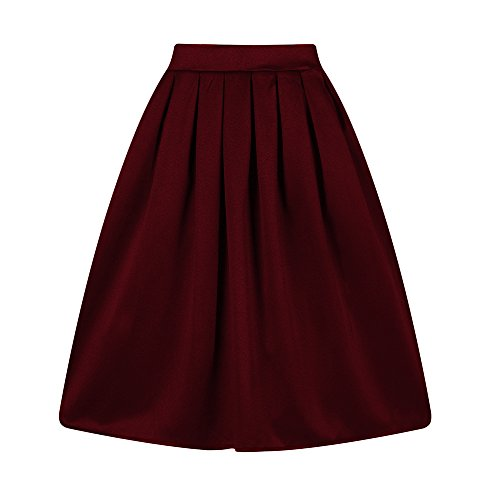 Taydey A-Line Pleated Vintage Skirts for Women (M, Burgundy)
