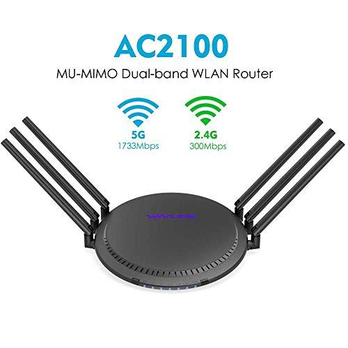 OFAY Router WLAN Gigabit Dual-Band AC2100, Router WiFi High-End (1.733Mbit / S (5 GHz) E 300 Mbit/S (2.4 GHz), 6X6 MU-Mimo, Porta LAN 4X Gigabit, USB3.0),2100Mbps